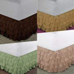 1 SOLID BEDDING DRESSING BED RUFFLED SKIRT MULTILAYERED PLAT
