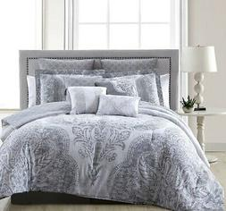 10 Piece Chateau Silver/White Comforter Set Queen