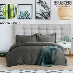Bedsure 100% Bamboo Duvet Cover Set Hypoallergenic Soft Comf