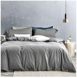 100% Cotton Queen Duvet Cover Set Ash Grey, Over Sized