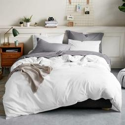 Bedsure 100% Washed Cotton Duvet Cover Sets Queen Full Size