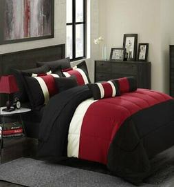 11-Piece Oversized Red  Black Comforter Set Queen Size Beddi