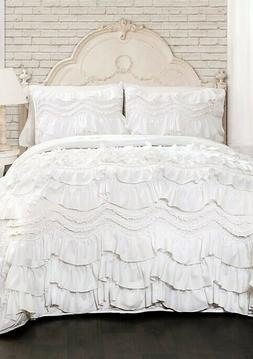Lush Decor Kemmy Quilt-Ruffled Textured 3 Piece King Size Be