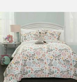 Lush Decor Pixie Fox Quilt Reversible 4 Piece Bedding Set -