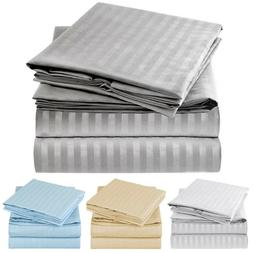 Mellanni 1800 Collection Striped Sheet Set -Wrinkle Fade Sta