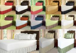 """1PC MICROFIBER SOLID BEDDING BED DUST RUFFLE SKIRT 14"""" DROP"""
