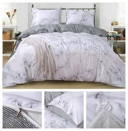 3-Pcs Bedding Set Marble Comforter Duvet Cover Queen Size Co