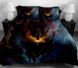 3 pcs Galaxy Wolf Bedding Set Animal Wolf Pattern Queen King