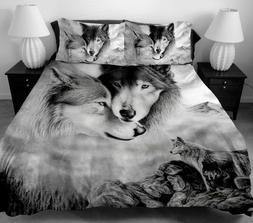 3 Pcs Wolf Pattern Bedding Set Twin Full Queen King Size Duv