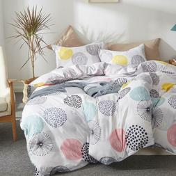 Uozzi Bedding 3 Piece Colorful Dot Duvet Cover Set Queen, Re