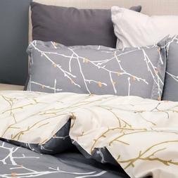 3 Piece Duvet Cover and Pillow Shams Bedding Set Printed Gre