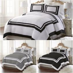 Chezmoi Collection 3-Piece Hotel Style Bordered Square Patte