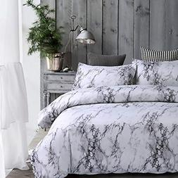 Uozzi Bedding 3 Pieces Marble White Duvet Cover Set Queen- 1