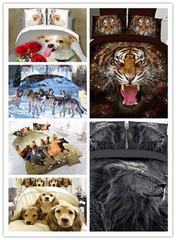 3D Animal Printed Effect Bedding Set Duvet Cover Pillowcase