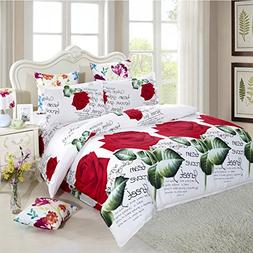 JessyHome 3d Bedding Set Queen/Full Rose Blossom Duvet Cover