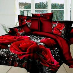 3d Bedding Sets Home Textile Hot Red Rose Pattern 4pcs Queen