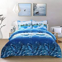 Unique Home 3D Dolphin Print All Season Goose Down Alternati