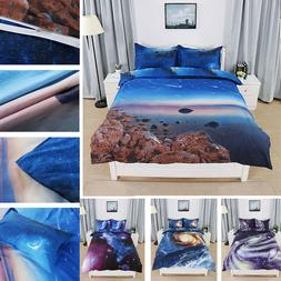 3D Galaxy Sky Cosmos Twin Queen Size Bedding Set Quilt Cover