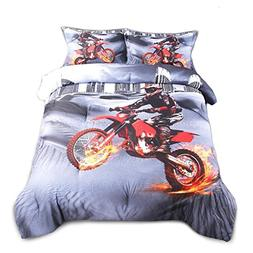 AMOR & AMORE 3D Racing Motorcycle Bedding Motorbike Themed C