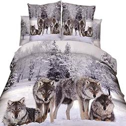 3D Oil Wolf Bedding Sets 4PC,,100% Cotton King Queen Size Wo
