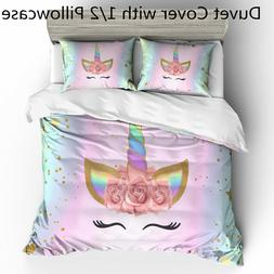 3D Unicorn Flowers Kids Bedding Set Duvet Cover Set Comforte
