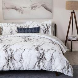 3pc White Marble Printed  Duvet Cover Set Comforter Cover Be