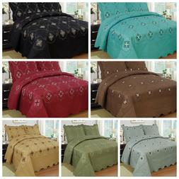 3Pcs Embroidery Quilts Bedspreads Set Bedding Coverlet Set Q