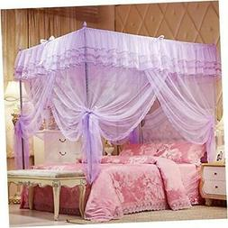 4 Corners Post Purple Canopy Bed Curtain for Girls & Adults