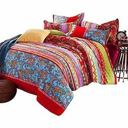 "4-Piece Bohemian Bedding Boho Set Queen Size Home "" Kitchen"