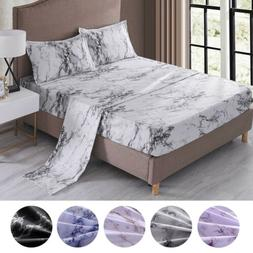 4 Piece Marble 1800 Count Bed Sheet Set Deep Pocket Comforte