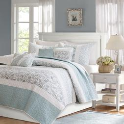 6Pc Quilted Bedding Set Queen/Full Blue Cotton Bedspread Cov