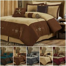 7pc Western Star Embroidery Microsuede Oversize Comforter Se