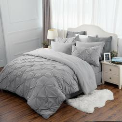 Bedsure 8pcs Comforter Set Full Queen Solid Gray Pinch Pleat