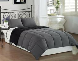 Chezmoi Collection 3-Piece Black Grey Super Soft Goose Down