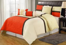 Chezmoi Collection 7-Piece Quilted Patchwork Comforter Set,