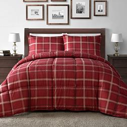Comfy Bedding Red Plaid Down Alternative 3-piece Comforter S