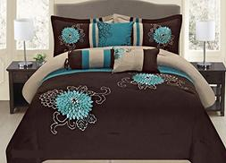 Fancy Collection 7-pc Embroidery Bedding Brown Turquoise Com
