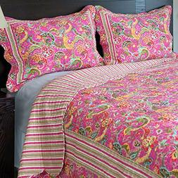 Lavish Home 3-Piece Paisley Quilt Set, Full/Queen