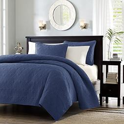 Madison Park Quebec 3 Piece Coverlet Set, Full/Queen, Navy