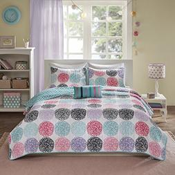 Mi-Zone Carly Full/Queen Girls Quilt Bedding Set - Teal, Pur