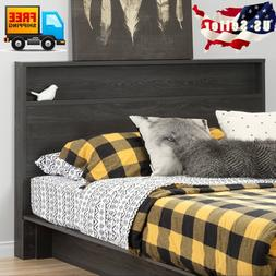 Modern Gray Wood Headboard With Storage Shelf For Queen or F