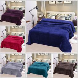 Solid Plush Fleece Blanket For Sofa Bed Soft Lightweight Lar