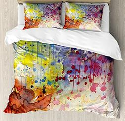 Ambesonne Abstract Duvet Cover Set Queen Size, Grunge Style