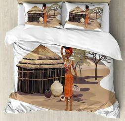 African Woman Duvet Cover Set with Pillow Shams Woman with P