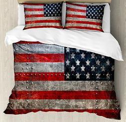 American Flag Duvet Cover Set with Pillow Shams US Flag Plat