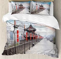 Ambesonne Ancient China Decorations Duvet Cover Set Queen Si