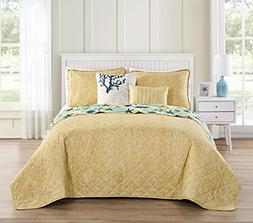 VCNY Home Aquatic 5 Piece Reversible Bedding Quilt Set, Quee