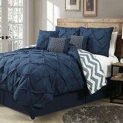 Avondale Manor 7-Piece Ella Pinch Pleat Comforter Set, Queen