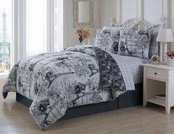 Avondale Manor Amour 8-Piece Comforter Set, Queen, Black/Whi