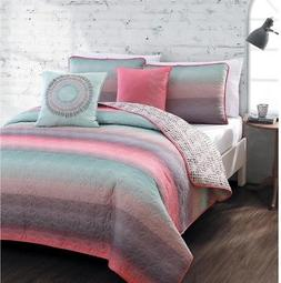 Avondale Manor Cypress 5pc Quilt Set Queen Coral/Blue, New